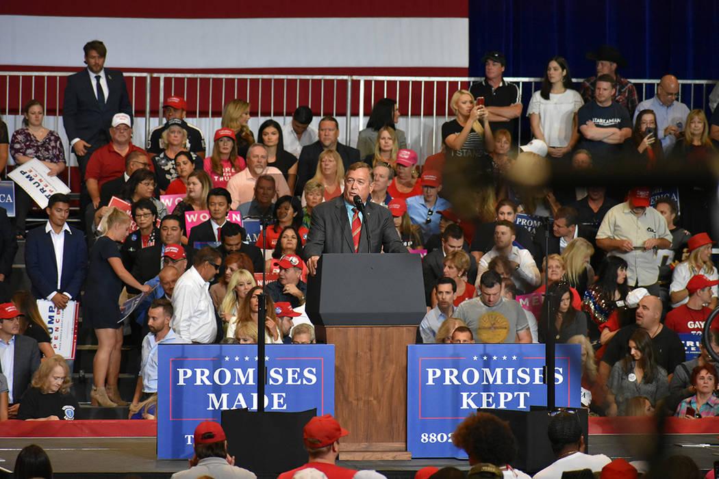 El candidato a a congresista de Nevada, Cresent Hardy, durante un evento de campaña. Jueves 20 de septiembre de 2018 en el Centro de Convenciones de Las Vegas. Foto Anthony Avellaneda / El Tiempo.