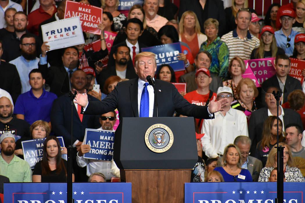 El presidente Donald Trump exhortó a los nevadenses a salir a votar en las próximas elecciones. Jueves 20 de septiembre de 2018 en el Centro de Convenciones de Las Vegas. Foto Anthony Avellaneda ...