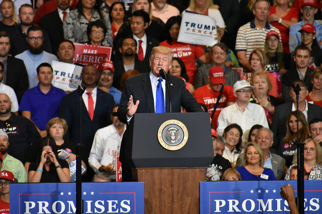 El presidente Donald Trump nuevamente visitó Las Vegas, ahora fue para hacer campaña a favor de los candidatos del Partido Republicano. Jueves 20 de septiembre de 2018 en el Centro de Convencion ...