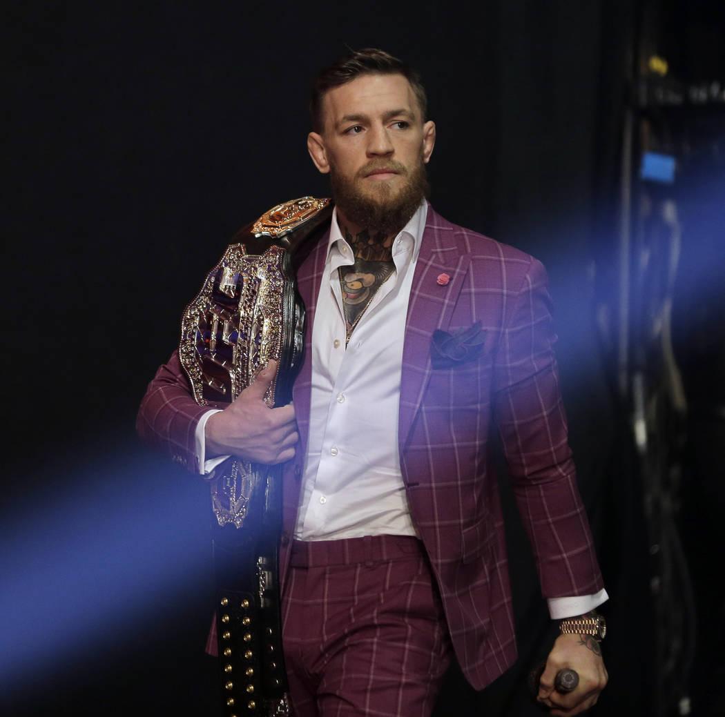 Conor McGregor llega a una conferencia de prensa en Nueva York, el jueves 20 de septiembre de 2018. McGregor regresará a UFC después de una ausencia de dos años. Lucha contra el invicto Khabib ...