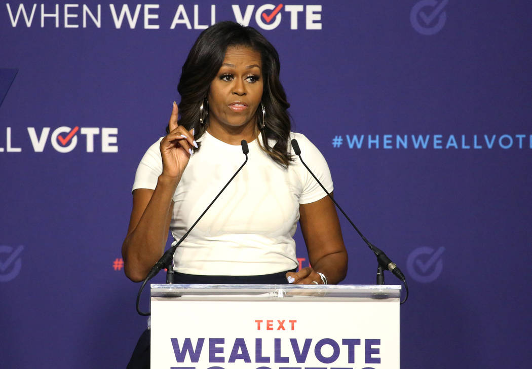 La ex primera dama Michelle Obama habla durante una manifestación de inscripción de votantes el domingo 23 de septiembre de 2018 en Las Vegas. Obama presiona para aumentar el registro de votante ...