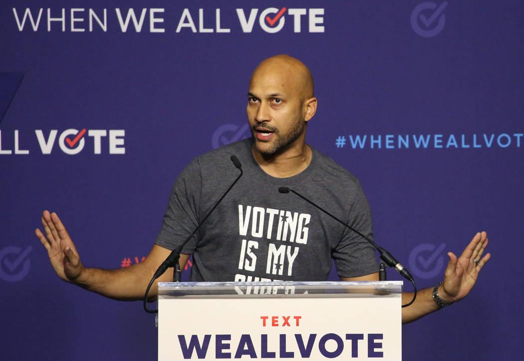 El actor Keegan-Michael Key habla durante una manifestación de inscripción de votantes el domingo 23 de septiembre de 2018 en Las Vegas. Bizuayehu Tesfaye / Las Vegas Review-Journal @bizutesfaye