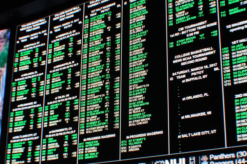 Gabriella Benavidez / Las Vegas Review-Journal El tablero de juego en Westgate en Las Vegas durante el torneo NCAA March Madness el 16 de marzo de 2017.