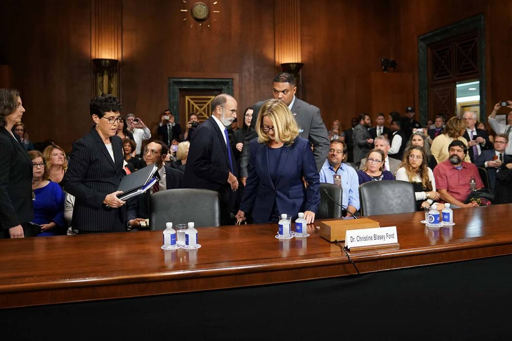 Christine Blasey Ford llega a declarar ante el Comité Judicial del Senado en Capitol Hill en Washington, jueves 27 de septiembre de 2018. (Foto de AP / Andrew Harnik, Pool)