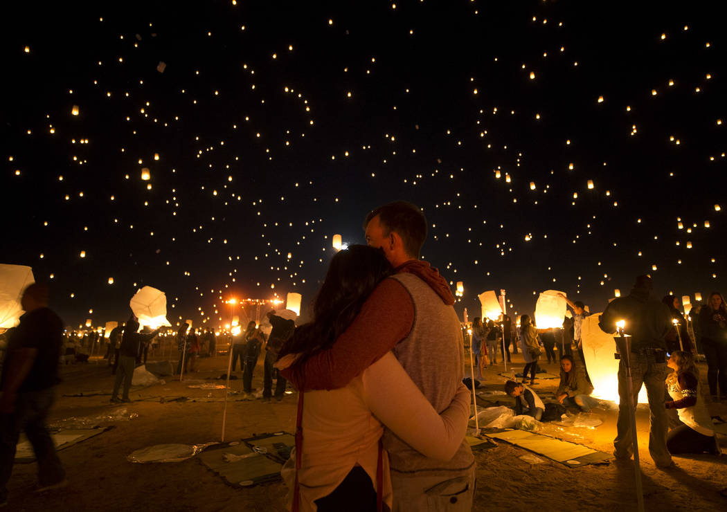 A couple takes in the view during the RiSE Lantern Festival l held at the Moapa River Indian Reservation on Friday, Oct. 6, 2017. Richard Brian Las Vegas Review-Journal @vegasphotograph