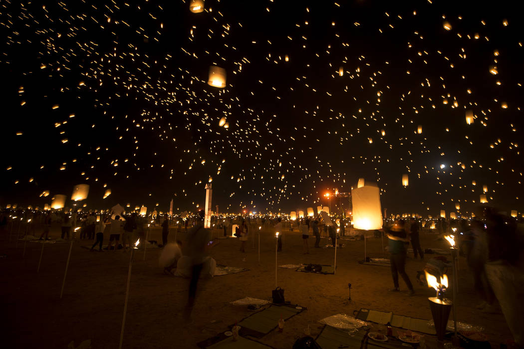 Participants release lanterns during the RiSE Lantern Festival held at the Moapa River Indian Reservation on Friday, Oct. 6, 2017. Richard Brian Las Vegas Review-Journal @vegasphotograph