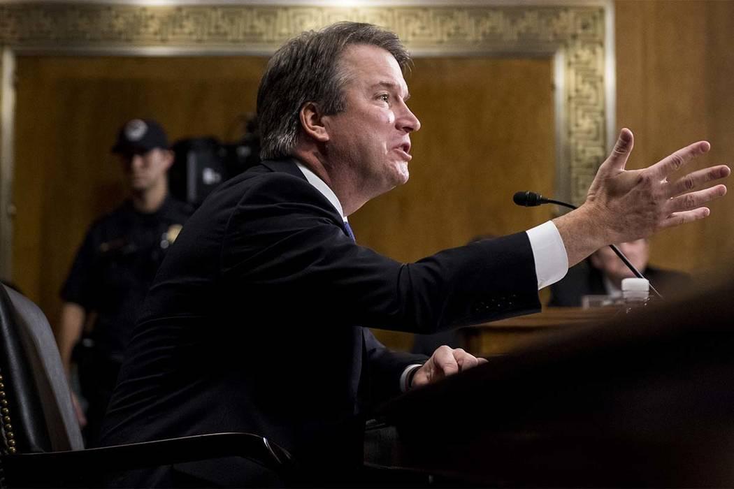 El juez Brett Kavanaugh, candidato a la Corte Suprema, testifica durante el Comité Judicial del Senado, el jueves 27 de septiembre de 2018 en el Capitolio de Washington. (Tom Williams/Pool Image ...