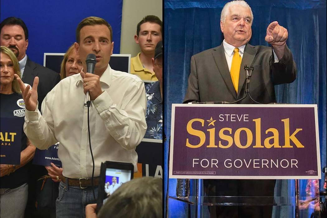 El republicano Adam Laxalt, a la izquierda, y el demócrata Steve Sisolak se postulan para gobernadores de Nevada. (Las Vegas Review-Journal)