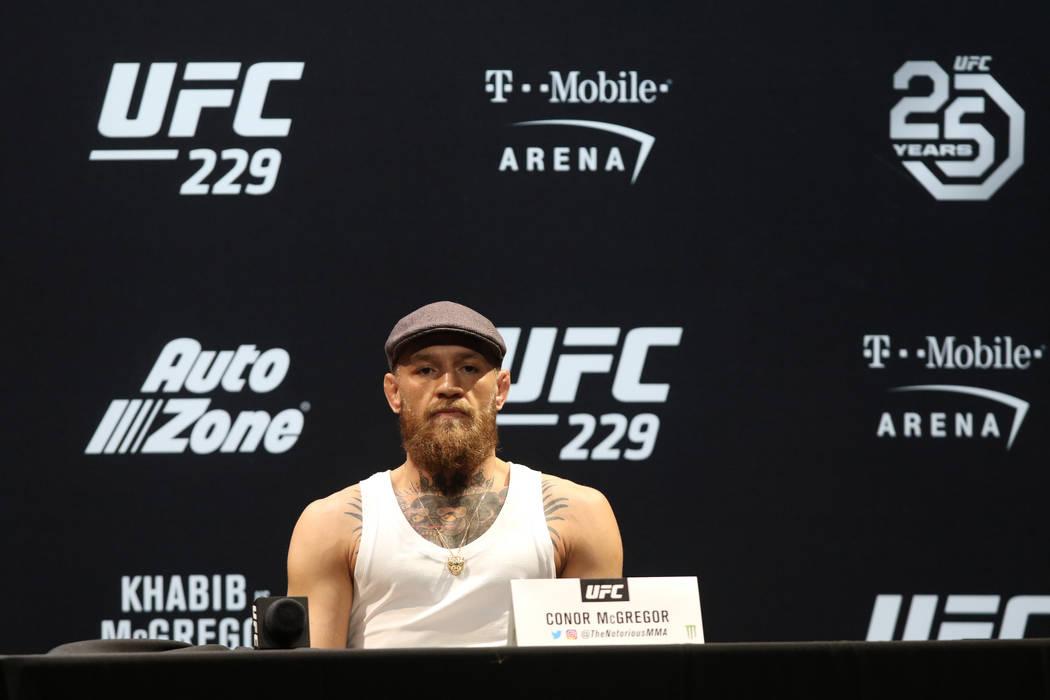 El peso ligero de la UFC, Conor McGregor, en la rueda de prensa de UFC 229 en el Park Theatre de Las Vegas, jueves 4 de octubre de 2018. McGregor luchará contra Khabib Nurmagomedov por el campeon ...