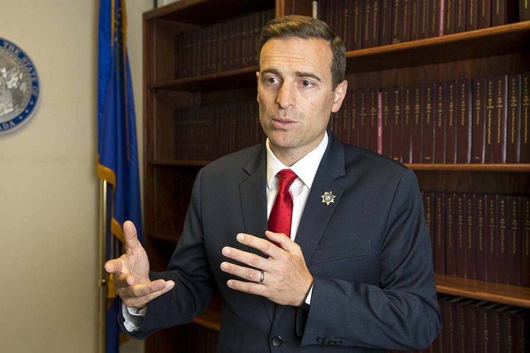 El fiscal general de Nevada, Adam Laxalt, durante una entrevista en Las Vegas el jueves 28 de junio de 2018. (Richard Brian / Las Vegas Review-Journal) @vegasphotograph