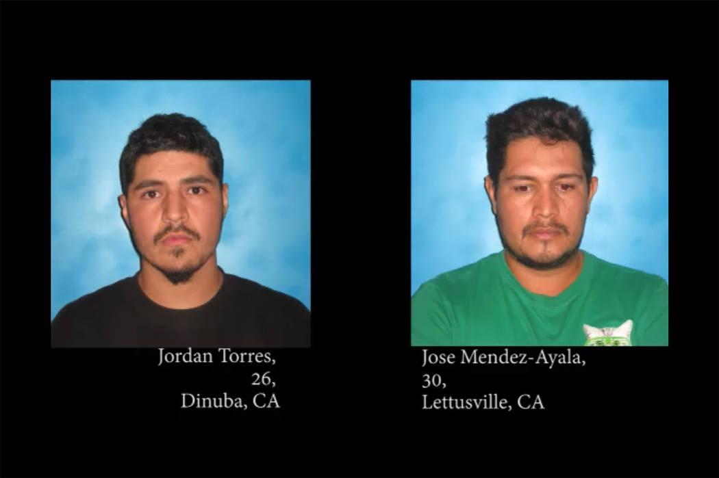 Jordan Torres, de 26 años, y José Mendez-Ayala de 30 años (Oficina del Sheriff del Condado de Nye / Facebook)