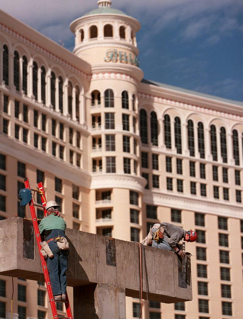 Los trabajos de construcción continúan en Bellagio en noviembre de 1997. (Las Vegas Review-Journal)