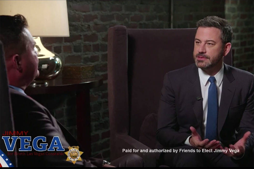 El presentador del programa de entrevistas nocturno, Jimmy Kimmel, ha respaldado a su amigo de la infancia Jimmy Vega para North Las Vegas. (Cortesía)