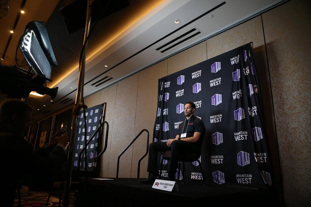 El jugador de baloncesto de la UNLV, Noah Robotham, durante el día de los medios de comunicación de la Conferencia Mountain West en el Cosmopolitan de Las Vegas, el martes 16 de octubre de 2018. ...