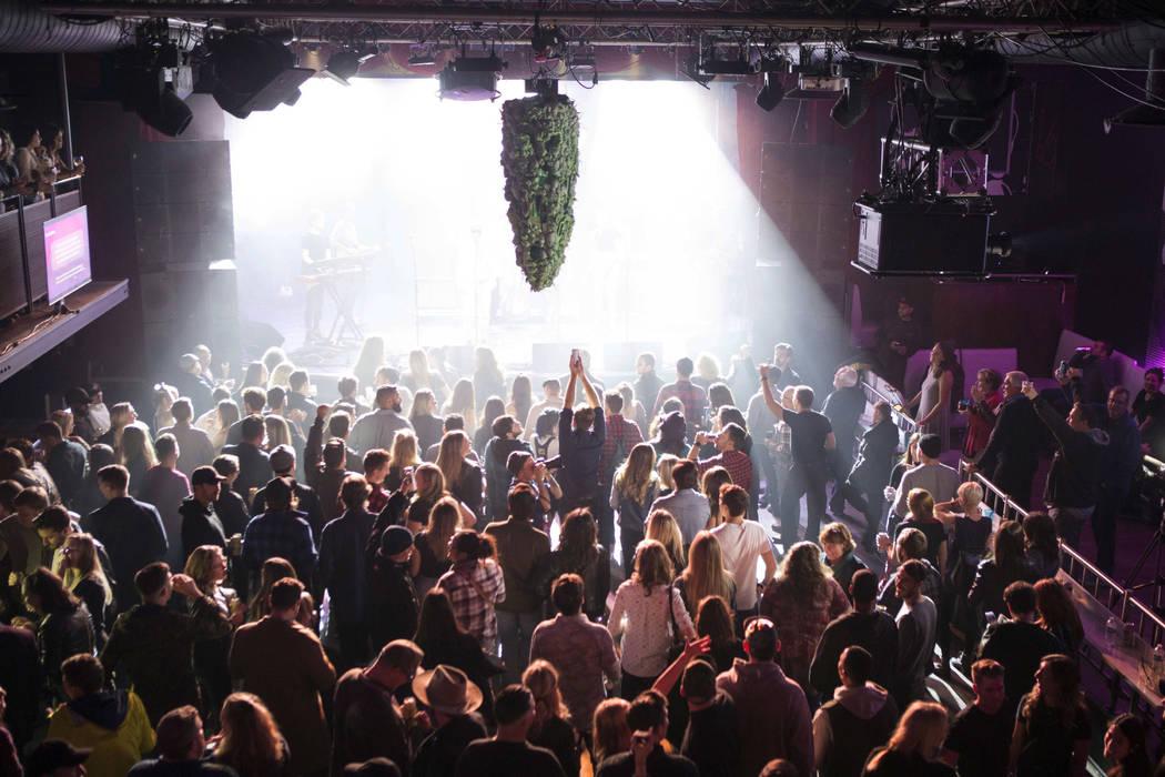 Una representación de un brote de cannabis cuelga del techo mientras una banda toca en la fiesta de la cuenta regresiva de Leafly en Toronto, el martes 16 de octubre de 2018, mientras se preparan ...