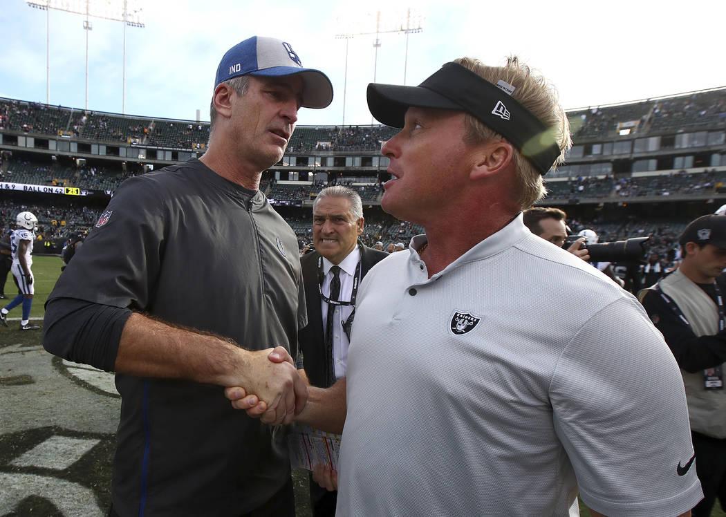 El entrenador en jefe de los Indianapolis Colts, Frank Reich, a la izquierda, le da la mano al entrenador en jefe de los Raiders de Oakland, Jon Gruden, después de un partido de fútbol de la NFL ...