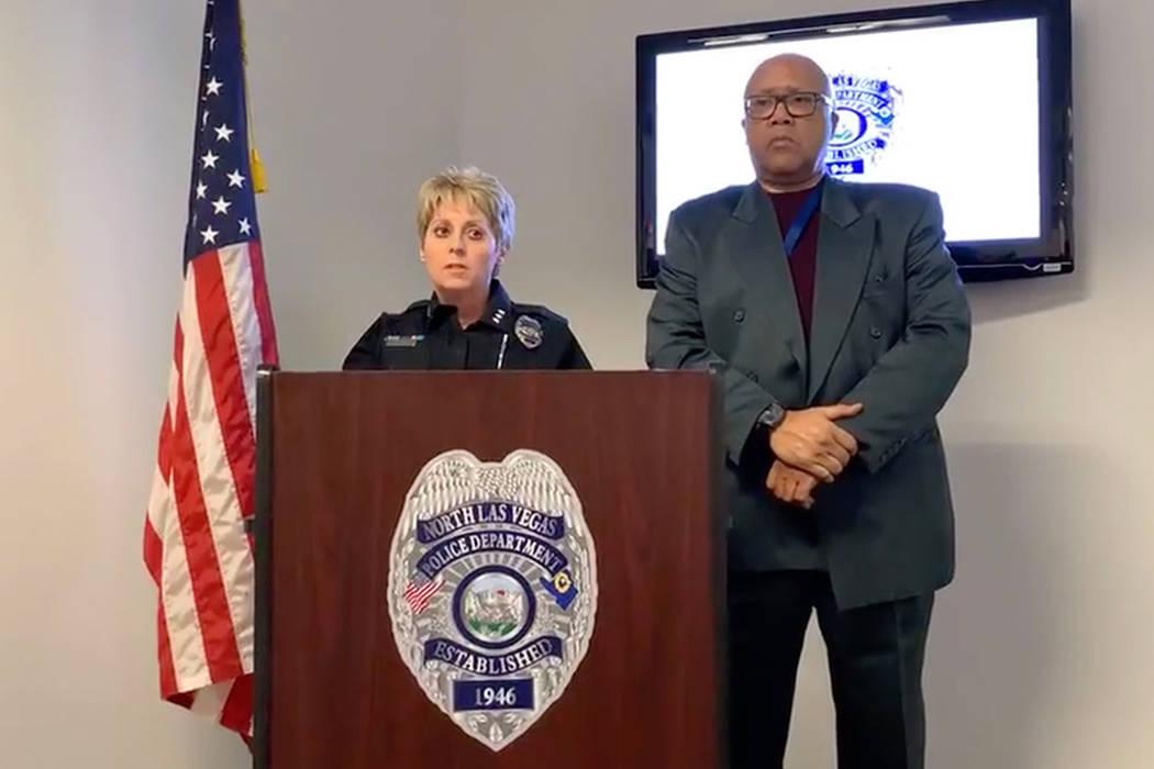 La asistente de jefatura de North Las Vegas, Pam Ojeda, habla en una conferencia de prensa el 5 de noviembre de 2018. Ojeda ha sido nombrada jefa de policía de la ciudad. (Harrison Keely / Las Ve ...