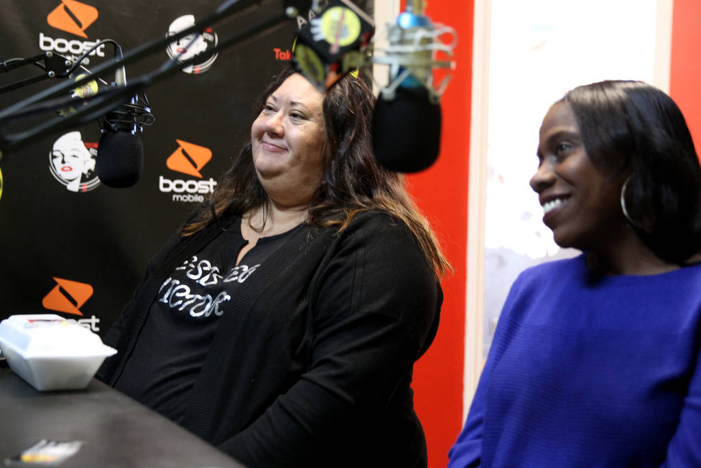 "Myscie Boren, left, and Indi Kaufman are interviewed by DeVonna ""Kat"" Normand during Normand's Sin City Heat show at 22.3 TakeOver Vegas Radio internet radio station in Las Vegas Friday, Nov. 9, 2 ..."