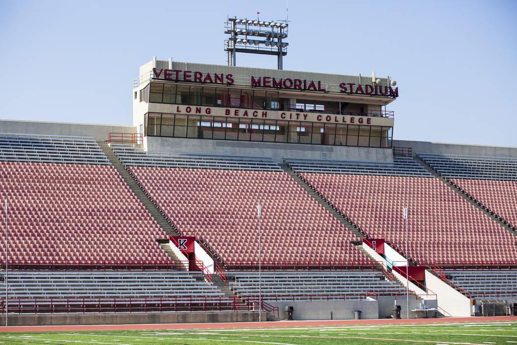 Veterans Memorial Stadium, antigua sede del programa de fútbol del estado de Long Beach, en Long Beach, California, el martes 30 de octubre de 2018. El estadio es utilizado por el equipo de fútb ...