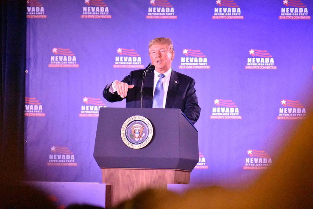 ARCHIVO.- El presidente Donald Trump visitó Las Vegas para participar en la Convención Estatal del Partido Republicano 2018. Sábado 23 de junio de 2018 en hotel y casino Suncoast. Foto Anthony ...