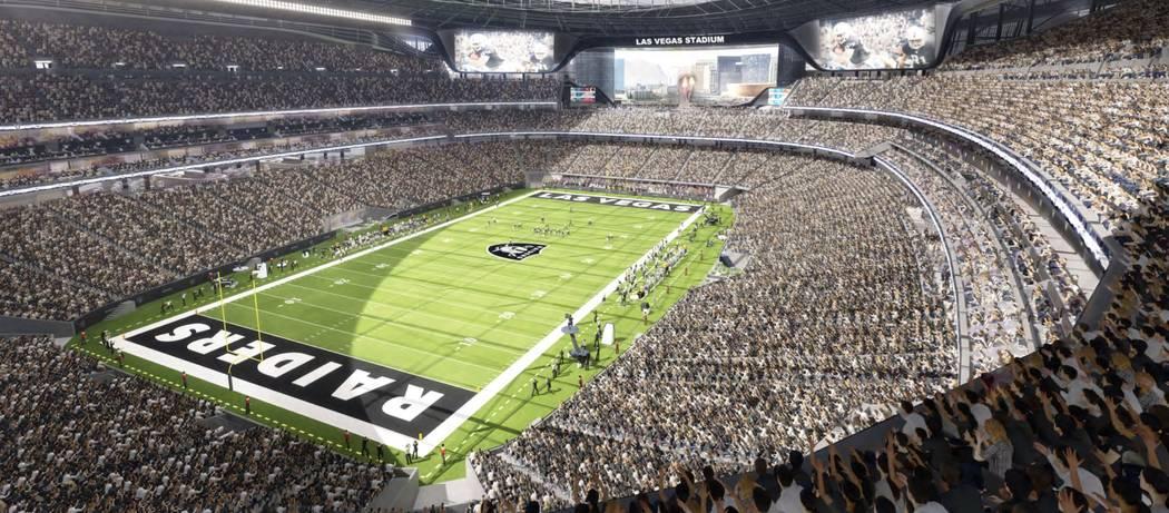 Representaciones del nuevo estadio de los Raiders en construcción en Las Vegas.