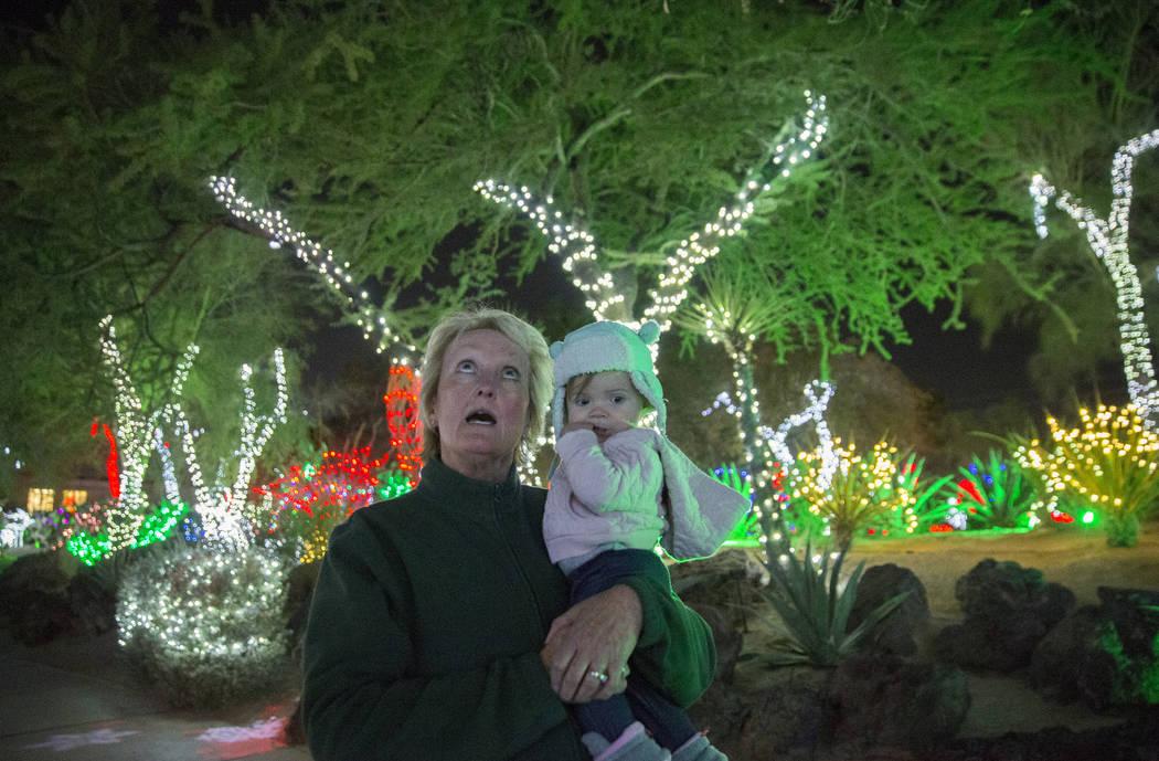 Cheryl Frazier, a la izquierda, sostiene a su nieta McKenna Dillon, de un año de edad, mientras caminan por el Jardín de Cactus Botánico Ethel M Chocolates el lunes 12 de noviembre de 2018, en ...