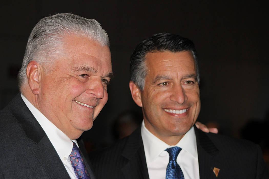 Steve Sisolak, gobernador electo y Brian Sandoval, gobernador de Nevada, hablaron sobre los crímenes de odio y la educación. Jueves 15 de noviembre de 2018, en el hotel & casino Paris. Foto El T ...