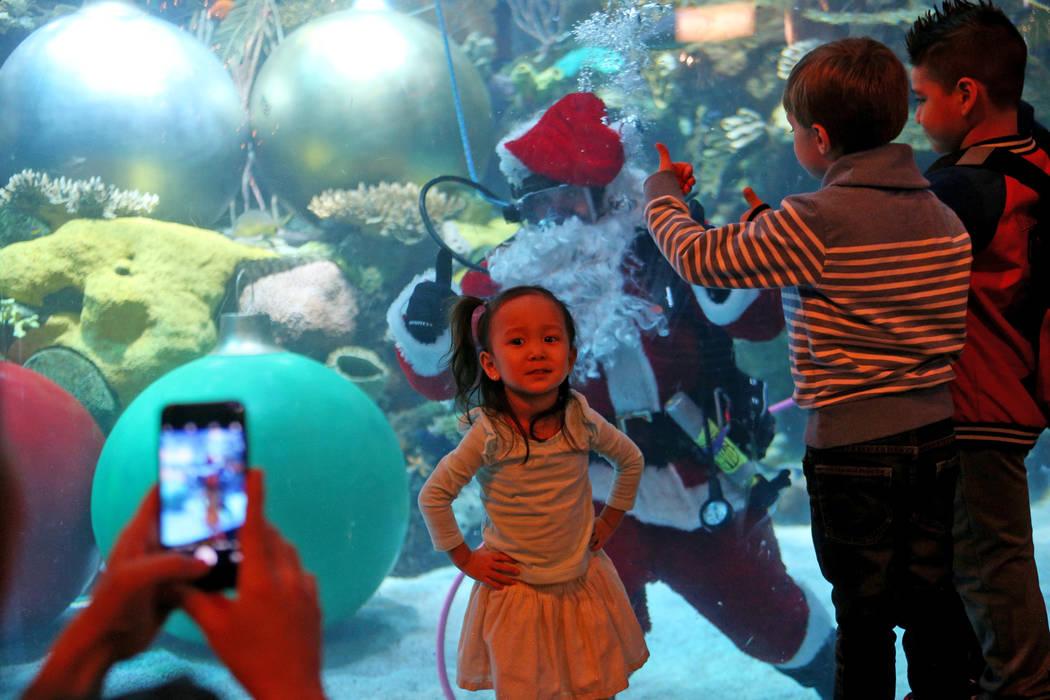 A Alyssa Kim, de 2 años, le tomaron una foto con Underwater Santa y saluda a la multitud en el hotel y casino Silverton en Las Vegas, el domingo 2 de diciembre de 2018. Él y la sirena navideña ...