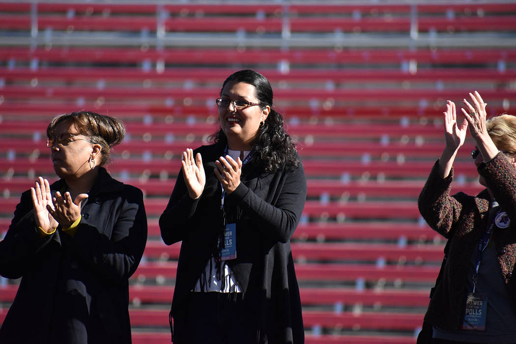 "Archivo.- La entonces asambleísta Olivia Díaz en el escenario durante el evento ""Women's March: Power to the Polls"". Domingo 21 de enero del 2018 en estadio Sam Boyd. Foto Anthony Avellane ..."