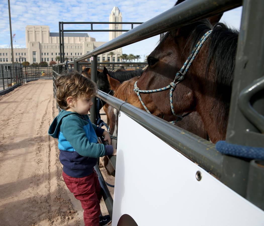 Noah Jossel, hijo del CEO de la Plaza, Jonathan Jossel, visita un caballo después de la apertura de Core Arena en la Plaza en el centro de Las Vegas el martes 4 de diciembre de 2018. El centro ec ...