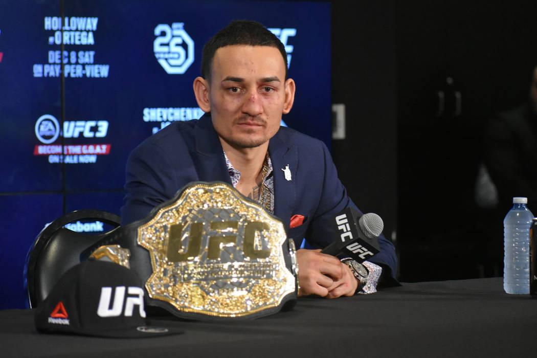Max Holloway atendió a los medios de comunicación después de su triunfo en UFC 231. Sábado 8 de diciembre de 2018 en Scotiabank Arena de Toronto, Ontario, Canadá. Foto Anthony Avellaneda / El ...