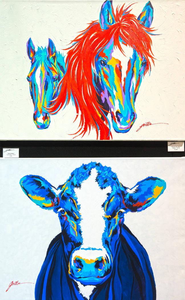 El arte contemporáneo occidental del pintor Lyndon Gaither en Cowboy Christmas en el Centro de convenciones de Las Vegas el jueves 6 de diciembre de 2018, en Las Vegas. Benjamin Hager Las Vegas R ...