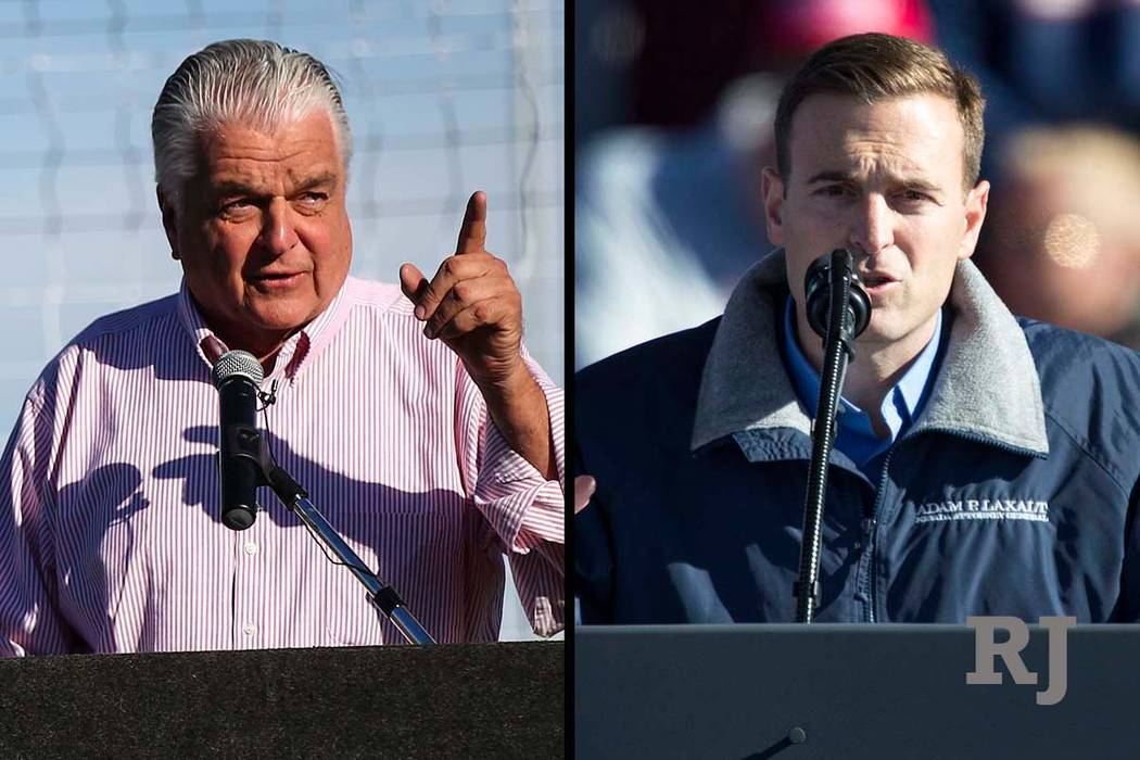 Steve Sisolak, izquierda, y Adam Laxalt, candidatos a gobernador de Nevada (Las Vegas Review-Journal)