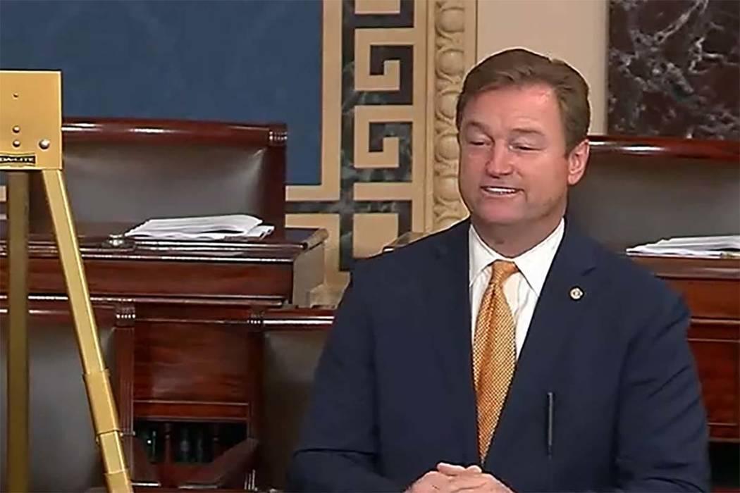 El senador estadounidense Dean Heller, R-Nev., pronuncia su discurso de despedida en el Senado el 13 de diciembre de 2018. (Captura de pantalla / CSPAN)