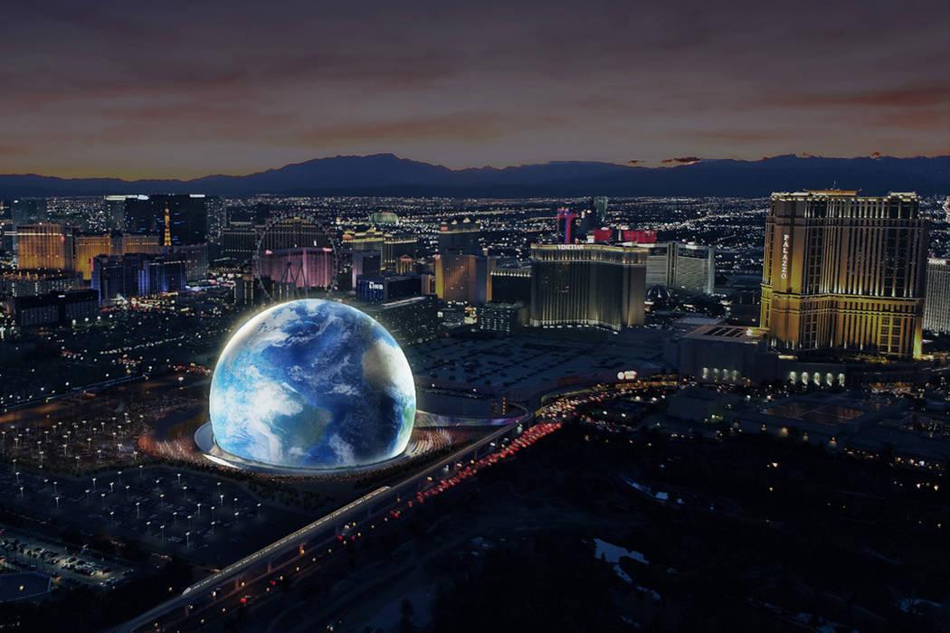 Una representación del artista de MSG Sphere Las Vegas, distribuida el jueves 8 de febrero de 2018, muestra el lugar de actuación de 300 pies cerca de The Venetian. La construcción comienza a f ...