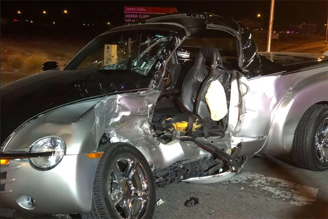 La escena de un accidente fatal en Blue Diamond Road y South Lindell Road en Las Vegas el jueves 20 de diciembre de 2018. (NHP)
