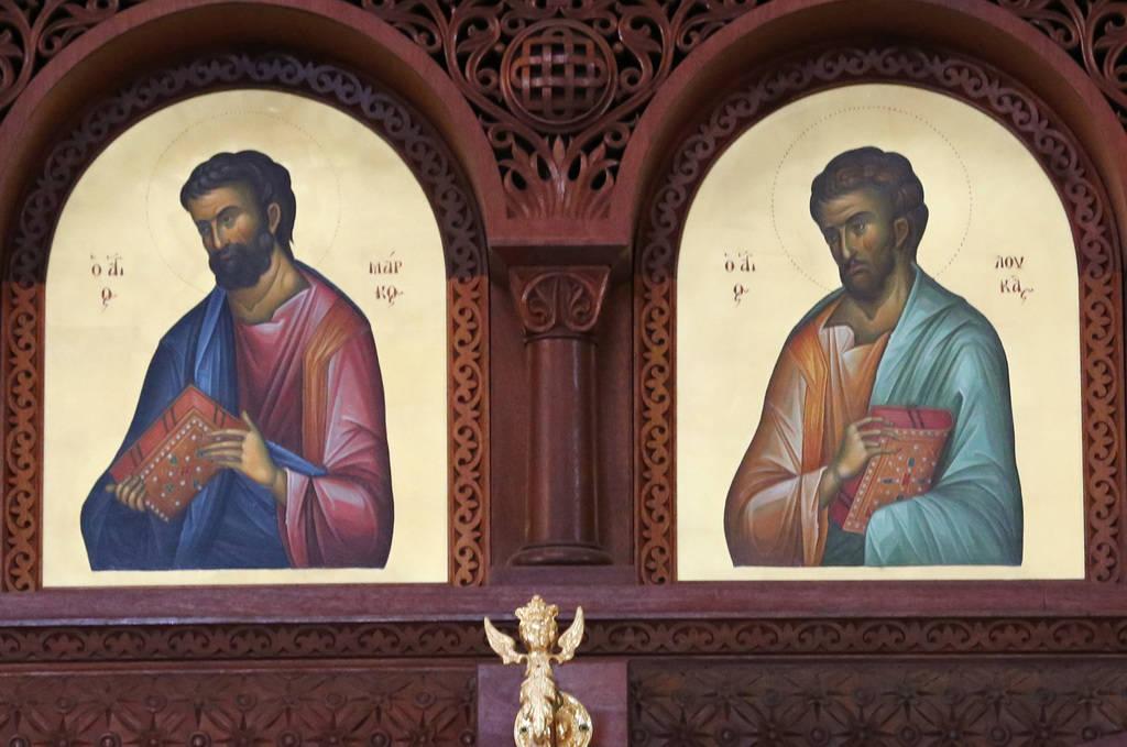 Los santos apóstoles están representados en los íconos del altar de la iglesia ortodoxa griega de San Juan Bautista el viernes 14 de diciembre de 2018, en Las Vegas. Bizuayehu Tesfaye Las Vegas ...