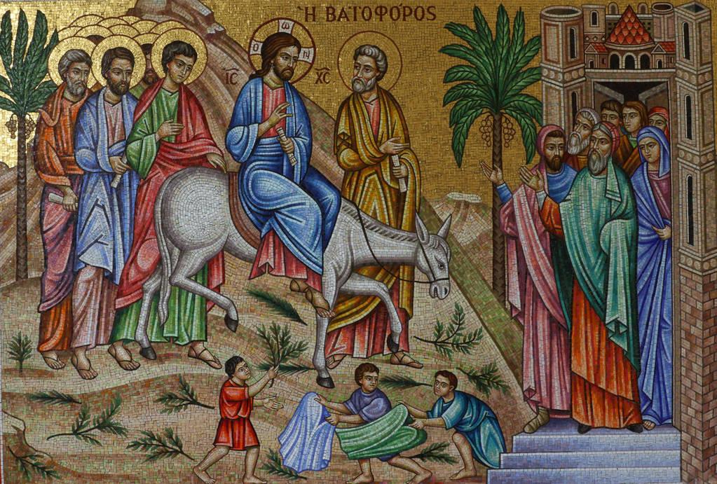 Un mosaico griego que representa a Jesucristo durante el Domingo de Ramos se ve en la iglesia ortodoxa griega de San Juan Bautista el viernes 14 de diciembre de 2018, en Las Vegas. Bizuayehu Tesfa ...