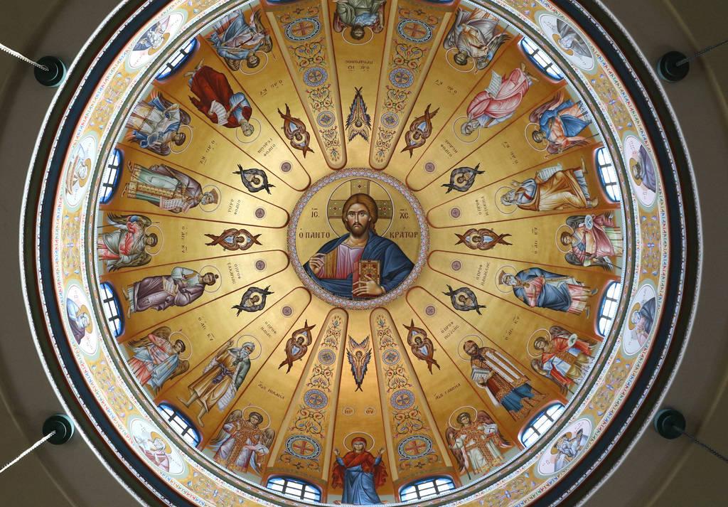 Una rueda de los profetas del Antiguo Testamento en la cúpula de la iglesia ortodoxa griega de San Juan Bautista se ve el viernes 14 de diciembre de 2018 en Las Vegas. Bizuayehu Tesfaye Las Vegas ...