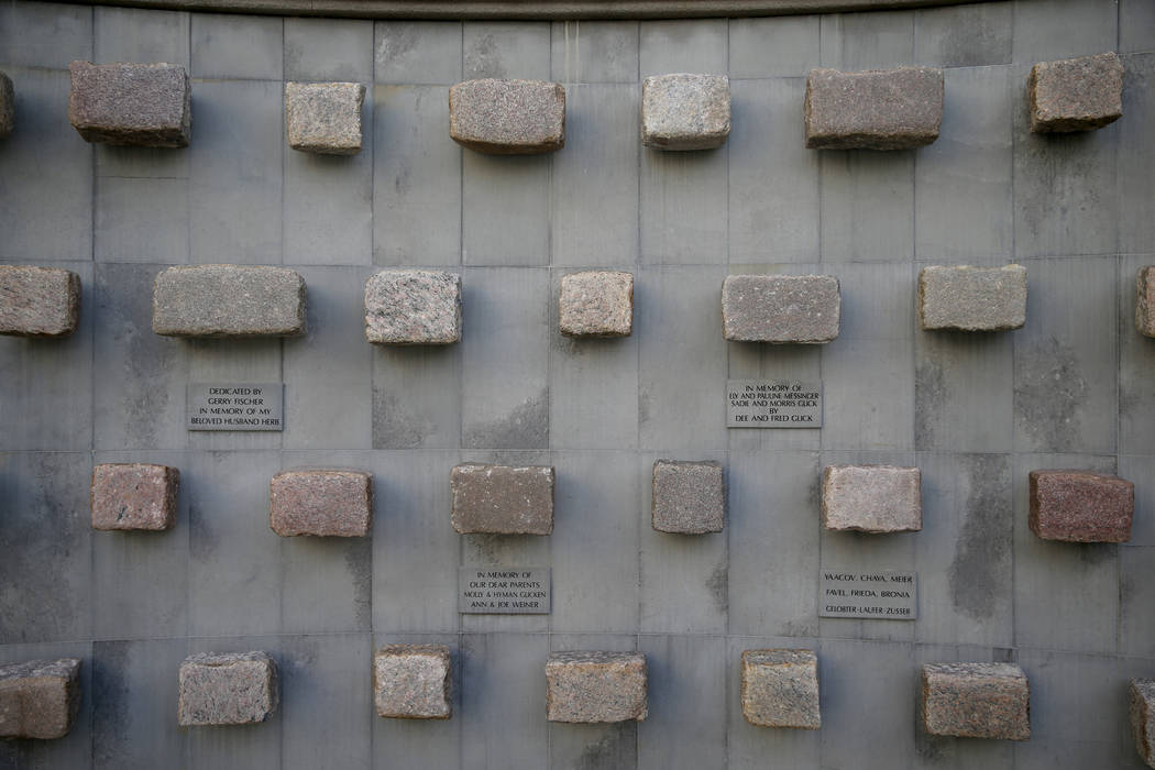 Stones from one of the Warsaw ghetto streets in the Warsaw Ghetto Remembrance Garden at Temple Beth Sholom in Las Vegas Friday, Dec. 14, 2018. K.M. Cannon Las Vegas Review-Journal @KMCannonPhoto