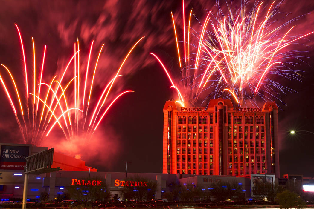 Fireworks explode above Palace Station in Las Vegas. (Richard Brian/Las Vegas Review-Journal) @vegasphotograph