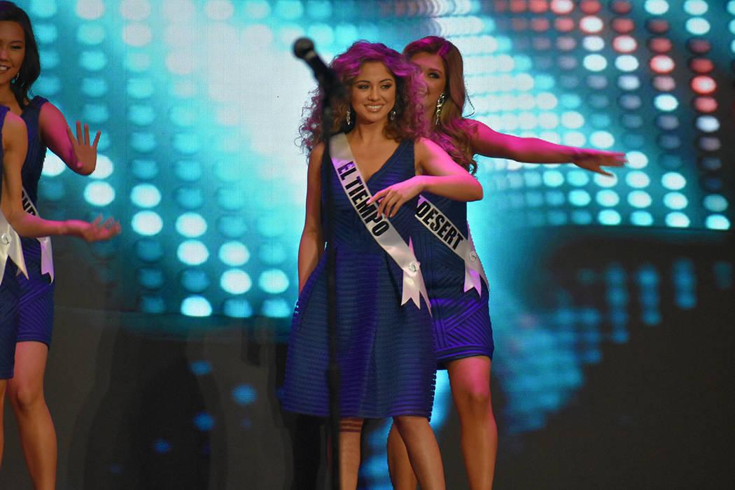 Miss El Tiempo USA Miranda Contreras tuvo una destacada participación al clasificar a la semifinal del certamen. Domingo 6 de enero de 2019 en el casino South Point. Foto Anthony Avellaneda / El ...