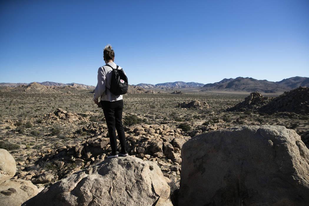 Trae Elliott visita el Parque Nacional Joshua Tree en el desierto de Mojave al sur de California, el jueves 10 de enero de 2019. Después de todo, el parque nacional no se cerrará debido al cierr ...