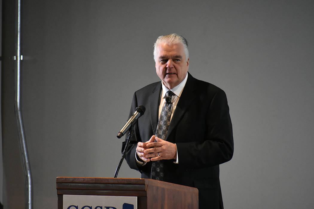 El gobernador Steve Sisolak dirigió un breve discurso antes del Informe del superintendente Jara. Viernes 11 de enero de 2019 en Strip View Pavilion. Foto Anthony Avellaneda / El Tiempo.