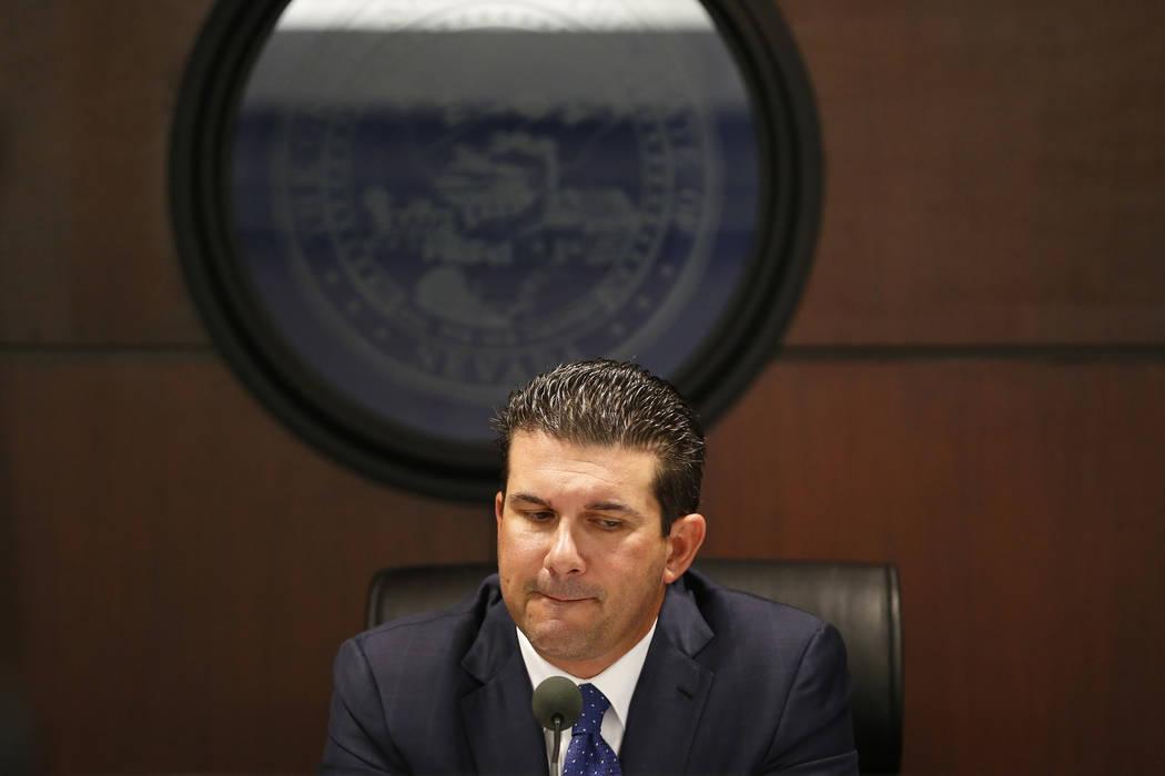 Anthony Marnell III, presidente de la Comisión de Deportes de Nevada, durante una reunión de la Comisión de Deportes de Nevada en el Edificio de la Oficina Estatal Grant Sawyer en Las Vegas, el ...