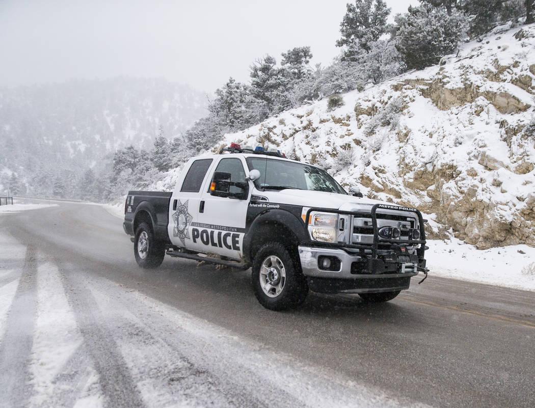 Un vehículo de policía de Las Vegas patrulla Mount Charleston el martes 15 de enero de 2019, en Las Vegas. Benjamin Hager Las Vegas Review-Journal