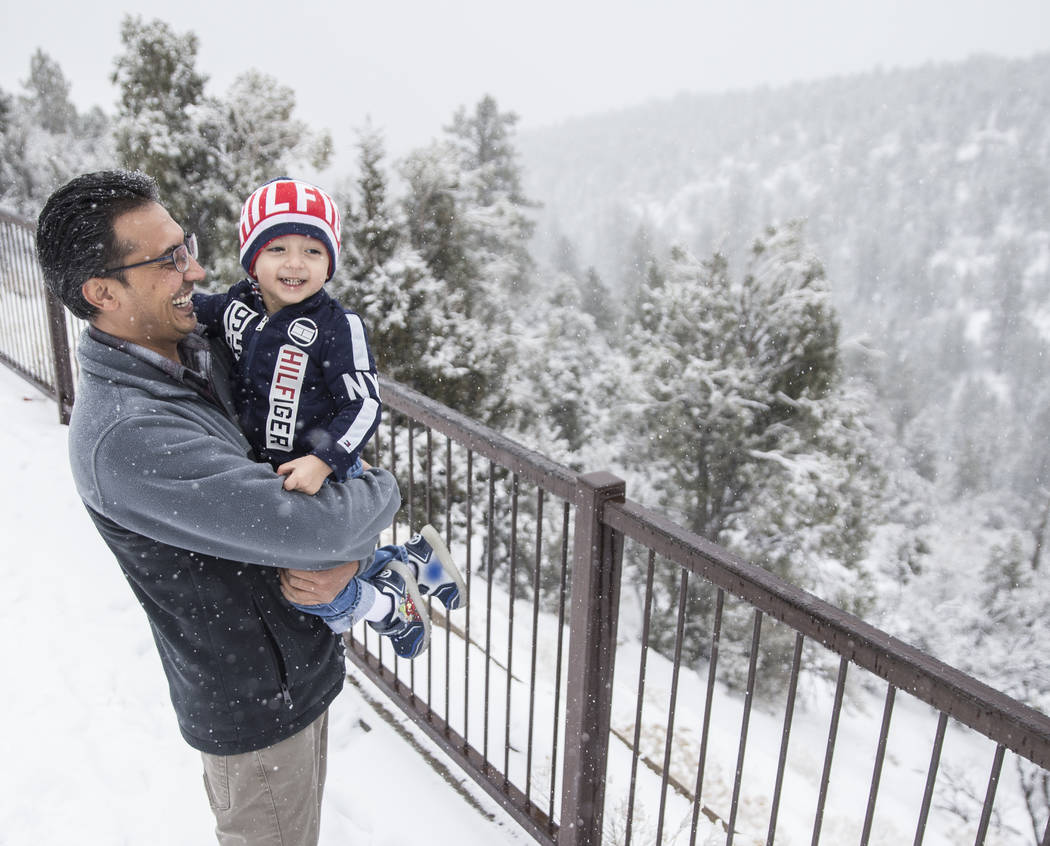 Ahmad Mehrzad, a la izquierda, y su hijo Adeed, de 2 años, contemplan la nieve en Mount Charleston el martes 15 de enero de 2019, en Las Vegas. Esta fue la primera vez que Adeed conoció la nieve ...