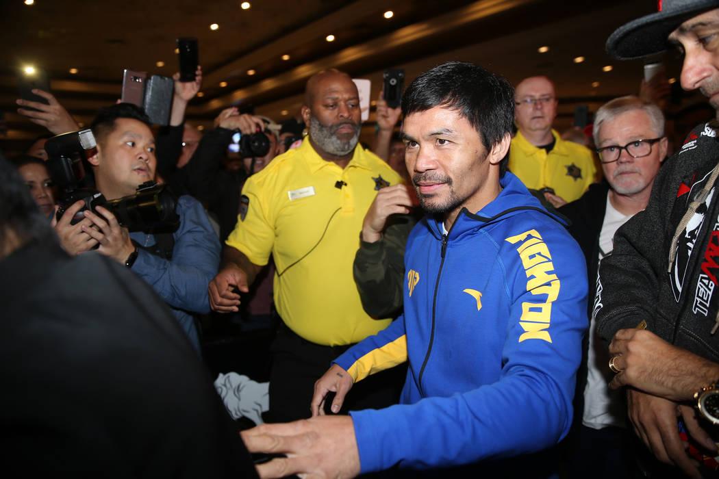 Manny Pacquiao se dirige al escenario durante su gran llegada al MGM Grand casino-hotel en Las Vegas, el martes 15 de enero de 2019. Erik Verduzco Las Vegas Review-Journal @Erik_Verduzco