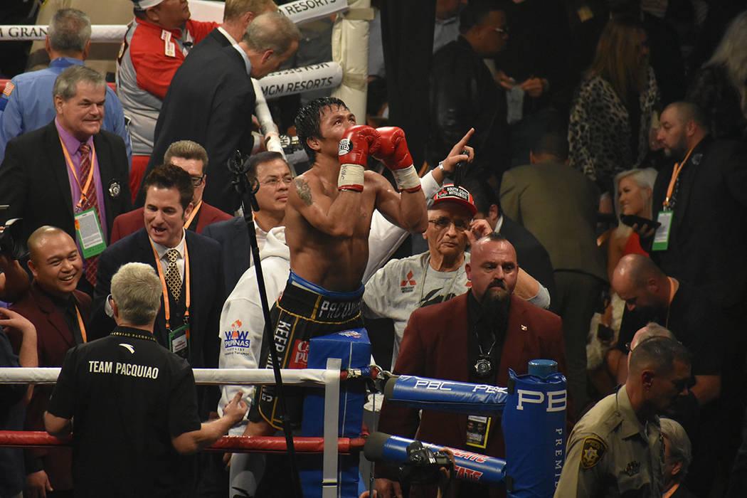 Manny Pacquiao derrotó por decisión unánime a Adrien Broner. Sábado 19 de enero de 2019, en Grand Garden Arena, dentro del MGM. Foto Anthony Avellaneda / El Tiempo.