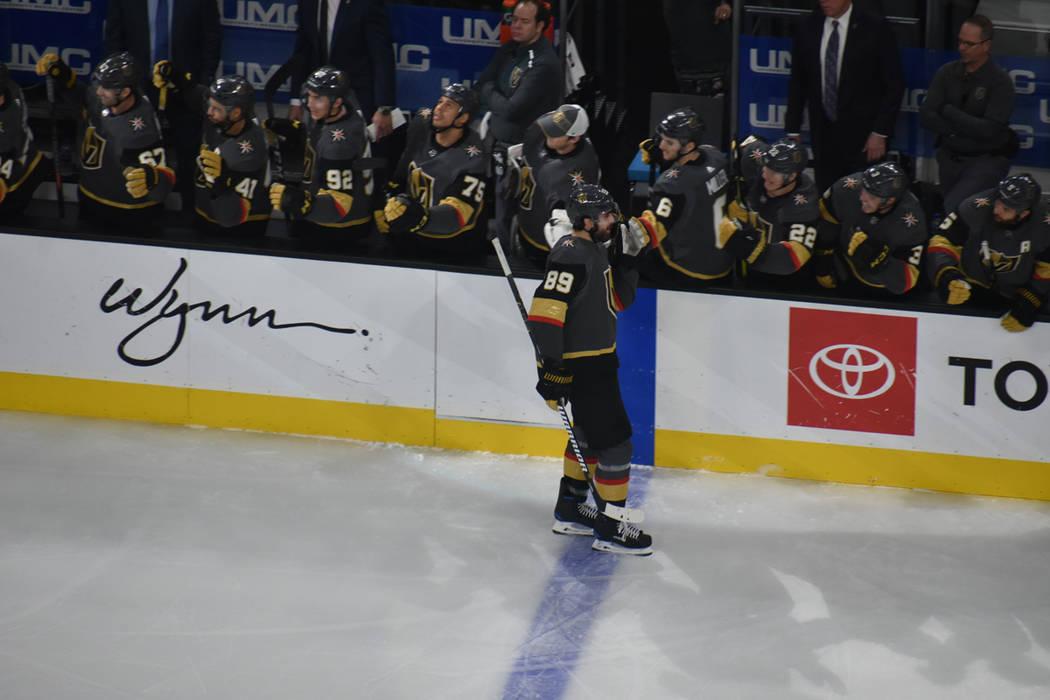 Alex Tuch (89) marcó el primer gol para los Golden Knights, en un juego de la NHL contra Minnesota Wild. Lunes 21 de enero de 2019 en T-Mobile Arena. Foto Anthony Avellaneda / El Tiempo.